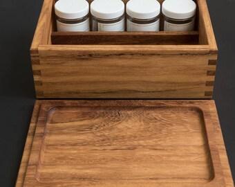 Iroko Stash Box with Rolling Tray Lid