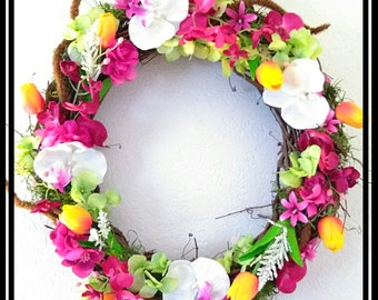 Vibrant Tulip and Orchid  grapevine Lighted Door Wreath | Spring Decor with Rustic Faux Flowers | Lighted Spring Wreath