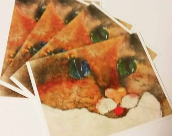 Cards Cuddle Kitty 4 notecards Cat Tastic Collection