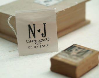 Wedding Favor Stamp with Initials, Wedding Stamp