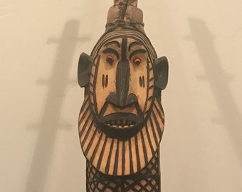 Amazing Hand Carved Wood Tribal Harp