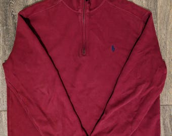 Vintage Polo by Ralph Lauren - Quarter Zip Sweater - Red w/ Navy Blue Polo Man