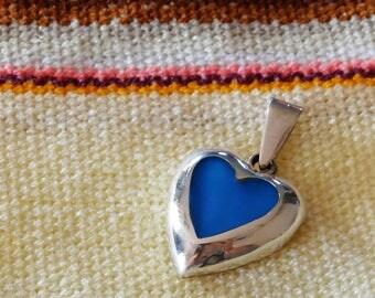 Peruvian pendant - blue and silver heart