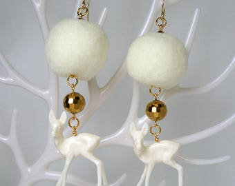 STATEMENT Reindeer Pom-Pom Gold Earrings For Holiday Party Special Occasion