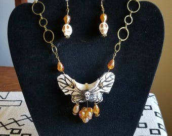 Death's Head Moth Necklace and Earring Set
