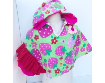 Strawberries and flowers poncho