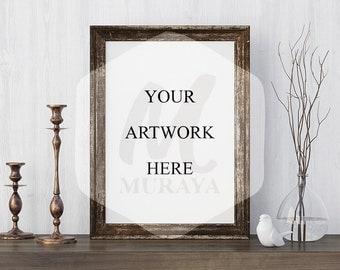 Wood Frame Mockup, Wood Portrait Frame, Styled Stock Photograpy, , PSD Mockup, Digital Item, Natural Lighting, Rustic Frame Mockup