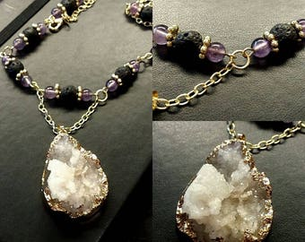 Amethyst & Lava Bead Diffuser Necklace with Druzy Quartz Pendant