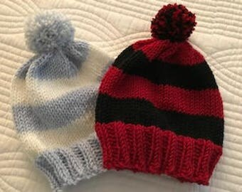 Newborn knitted hat...Game Day Cappi...free shipping