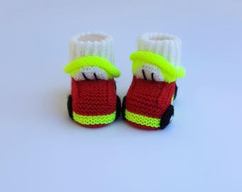 Handmade Little Red and Yellow Baby Booties