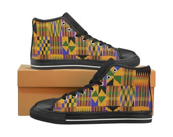 Kente Print Classic Canvas High Top Sneakers (shoe runs large, view size chart)