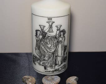 Tarot candle, 3 of cups altar candle, candle magic, pagan, wiccan home, magic candle, meditation, friendship, happiness, manifesting candle,