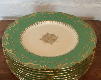 Minton H4900 Green 9 Inch Luncheon Plates - Set of Eight!