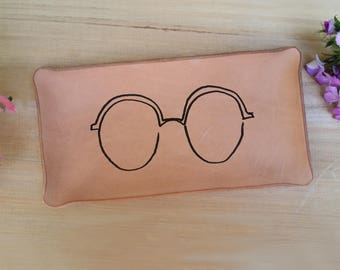Leather Tray with Glasses