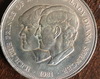 HRH the Prince of Wales , Lady Diane Spencer , Royal Wedding Commemorative Crown . July 29  1981 Coin!!!