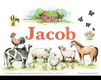 Personalised Name Pigment Print for Children's Rooms. Nursery Decor / Wall Art. Farm animals. Created from original watercolour artwork.