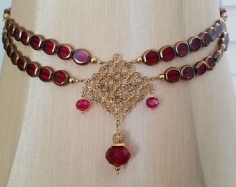 Victorian Red beaded Necklace
