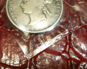1872-H Canadian 25 Cents Silver Coin - Queen Victoria - Fine