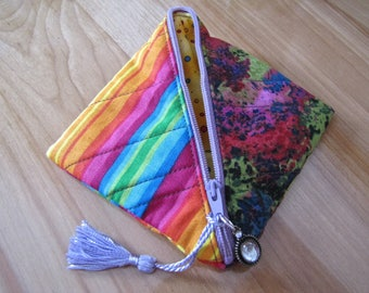 Handmade Recycled Fabric Coin Pouch with Zipper, Half Square Triangle Pouch, fully lined