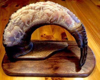 Sheep horn carving