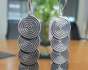 Sterling 925 Silver Hill Tribe Earring - Ethnic Spiral disc Earring - Silver Drop Earring - Boho Earring - Gypsy Earring- Long Earring PCE37