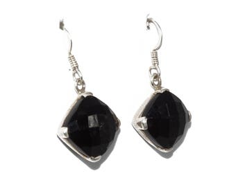 925 Silver Earring with faceted Black Onyx