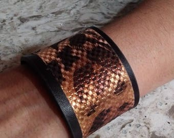 cuff bracelet with copper accent