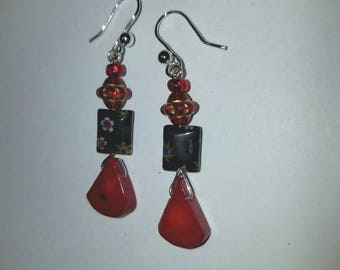 Red coral and black glass earrings