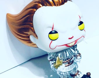 Custom Chase Metallic Funko Pop Pennywise with Boat, Wig, Balloon It movie