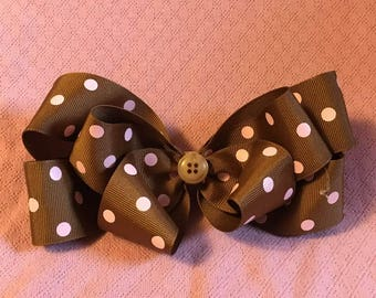 Fancy Bow, Stacked Boutique, Brown Barrette, Easter Bow, Boutique Bow, Polka Dots, layered over the top, Cute Button in center, 6 1/2""
