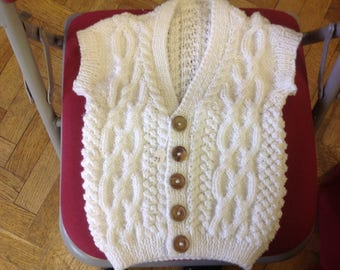 Hand made white cable waistcoat 1-2 years