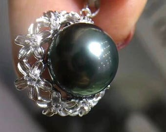 11-12mm High Luster Natural Dark Green Tahitian Pearl w/925 Sterling Silver Carved Flower Pendant Necklace, Genuine Tahitian Pearl Necklace