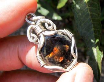 fire agate pendant fire agate necklace fire agate jewelry