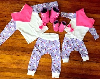 Unicorn Raglan | Unicorn Pants | Bow | Knot Headband | Booties | Bib