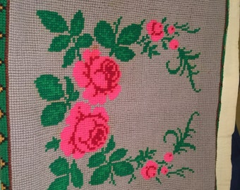 Gray with pink flowers cushion cover.