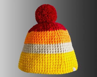 Handmade Stripy Crochet Warm Winter Bobble Hat Color Block Pompom Hat