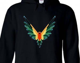 Adult Hoodie Logan Paul Maverick Black Unisex Hooded Sweatshirt Colorful Bird Symbol