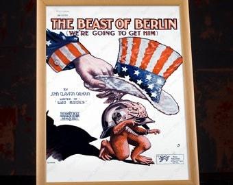 WWI Propaganda - Musical Affiche WW1 Poster, ww1 propaganda, ww1 memorabilia, vintage propaganda, ww1 ephemera, wood framed, 1900's prints
