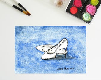 5 x 7, White Shoes, printable art, ink and watercolor, downloadable art, art printables, high heels, white pumps, tiny painting, fun art