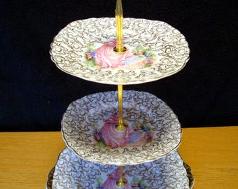 2 or 3 tier cake stand - 'Pinkie' - High tea cake stand from English bone china for Mad Hatter tea party