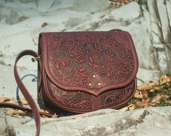 Big leather purse, brown messenger bag, hot tooled purse, brown crossbody bag, brown shoulder bag, capacious leather bag, bag with animals