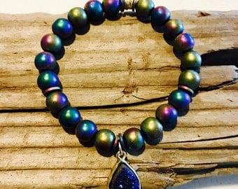 Multicolored beaded bracelet, stretch bracelet, stack bracelets, birthday gift, boho bracelets, gold charm, jewerly, bracelets for women,