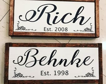Personalized Family Name Wooden Sign