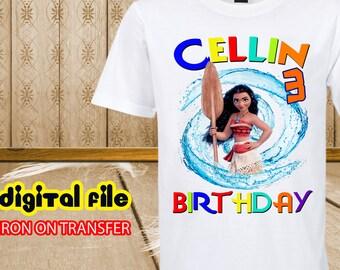 Moana Iron On Transfer, Iron On Transfer Moana Birthday Shirt, Moana Birthday Girl Iron On Transfer, Personalized Moana, Digital Transfer