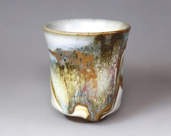 Glost-fired Earthen Teacup- Splashed rich colours;Handmade;Taiwan pottery;Japanese style;Ceramicware;Unique gifts;pottery;Multi-coloured cup