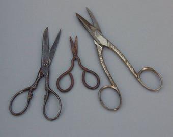3 pairs of vintage scissors