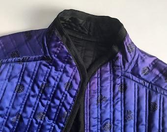Vintage Rad Blue and Purple Jacket Mandarin Collar