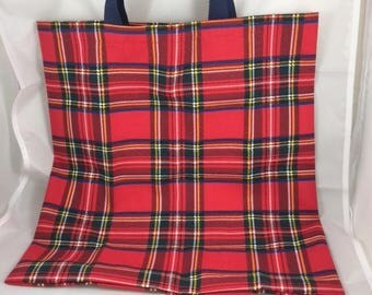 Plaid lightweight tote bag