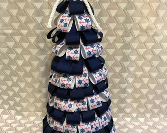 Summer decor, spring decor, nautical ribbon tree, beach house decor, ribbon tree, navy blue ribbon, housewarming gift, gift for her
