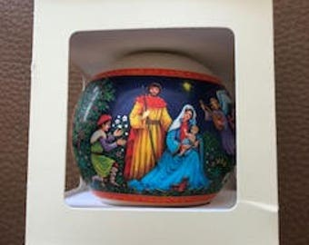 "Hallmark Glass Ornament 1978 ""Nativity"""